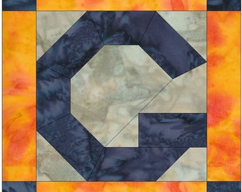 Letter G Paper Piece Foundation Quilting Block Pattern