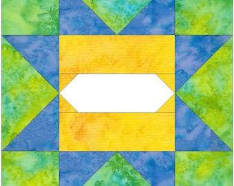 Album Star 5 Paper Piece Foundation Quilting Block Pattern