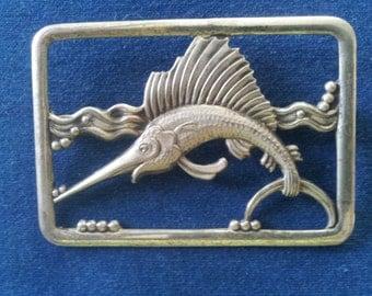 Vintage Sterling Truart Marlin Brooch Pin, Vintage Sterling Swordfish Brooch Pin