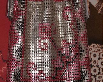RED-Hot Pink + Silver Whiting & Davis Mesh Purse ~Vintage 1920s DECO Flapper Bag ~Glitzy Evening Handbag
