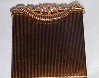 Regal RHINESTONES 1950s Vintage VOLUPTE Swinglok Compact ~Classy Vanity Case UNUSED with Original Box!