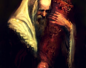 Old Jewish Man With the Torah Mixed media embellished on Canvas By Yossi Bitton