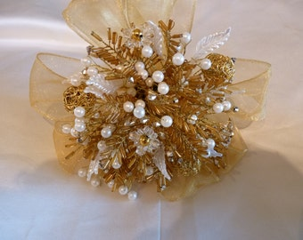 Bridesmaids bouquet in gold and ivory. Beaded bouquet, wedding bouquet, brooch alternative