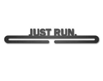 Just Run Marathon 5k 10k Medal Hanger Athletic Metal Rustic Art Running Display