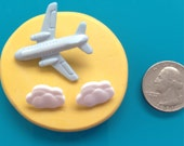 Airplane Jet Plane Clouds Sky  Silicone Mold Chocolate Fondant Gumpaste Isomalt Resin Polymer Clay Wax