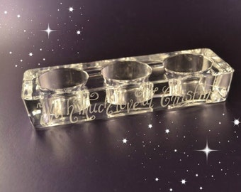 SALE TENPOUNDS Personalised chunky glass tealight holder - hand engraved with your own choice of message. Holds 3 tealights (TL04)