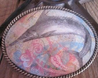 Blue marlin belt buckle fish belt buckle ocean life beach belt buckle fisherman silver oval belt buckle women's belt buckle mens belt buckle