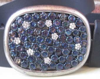czech glass blue / green iris flower beads and silver daisy  retro belt buckle