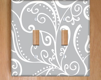 Silent Era, Gray Vinyl Double Light Switch Cover, Outlet Cover, Wallplate, Home Decor, Swirls, Gray and White, Elegant, Vinyl Wall Cover