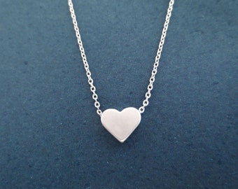 Simple, Silver, Heart, Love, Necklace, Cute, Minimal, Love, Necklace, Friendship, Best friend, Gift, Birthday, Gift, Jewelry