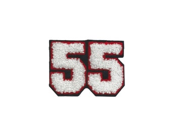 Varsity Number 55 Iron On Patch Embroidery Applique