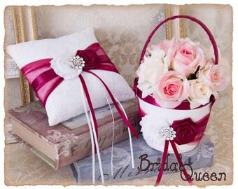 Ring Bearer Pillow and Flower Girl Basket in Burgundy
