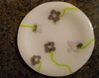 Fused glass plate, soap dish candy dish decorative use lilac flower plate mothers day gift.