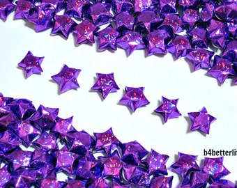 500pcs Purple Color Medium Size Origami Lucky Stars Hand-folded from 24.5 x 1.2cm Paper Strips. (4D Glittering paper series). #FOS-5.