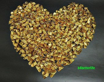 "300pcs Gold Color Medium Size 3D Origami Hearts ""LOVE"". (4D Glittering Paper Series). #FOH-150."