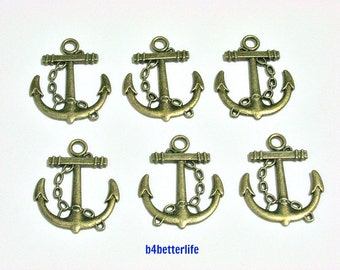 """Lot of 24pcs Antique Bronze Tone """"Anchor"""" 2 Sided Metal Charms. #BC1686."""