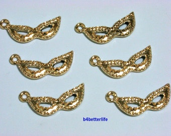 "Lot of 24pcs ""Masquerade Mask"" Gold Color Plated Metal Charms. #XX337."
