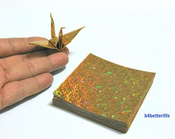 "100 Sheets 3"" x 3"" Gold Color DIY Chiyogami Yuzen Paper Folding Kit for Origami Cranes ""Tsuru"". (4D Glittering paper series). #CRK-37."