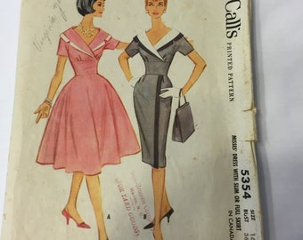 McCall's 5354 Misses' Dress Pattern Size 16 Bust 36 -1960