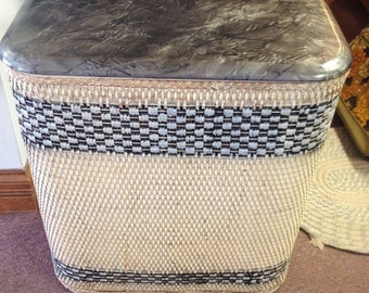 10% OFF SALE Vintage Wicker Laundry Hamper Grey