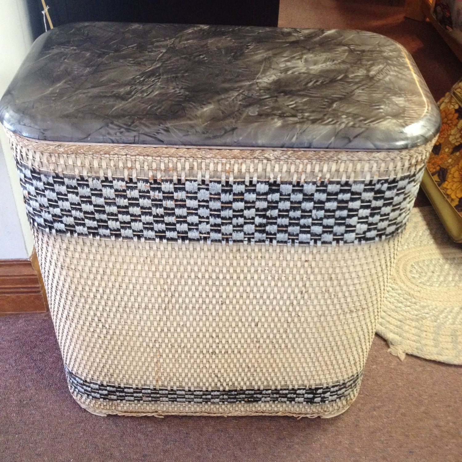 10 off sale vintage wicker laundry hamper by ostrichandpeacock - Rattan clothes hamper ...
