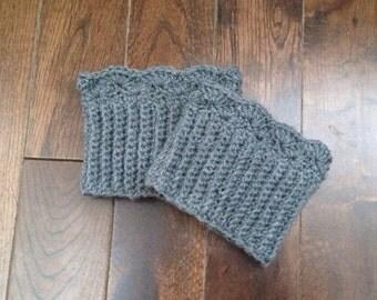 Crochet Boot Cuffs (3), 2-in-1 Boot Topper, Leg Warmers, Boot Sock, Women's Boot Cuff Grey, Custom Made, 10 Colours