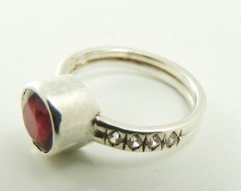 Ruby engagement. Side-zircons, Natural ruby game stone of july, Sterling ring,, Red gemstone ring