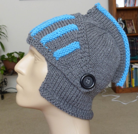 Knight Hat Knitting Pattern : knitted sir knight hat knitted knight helmet by StrandsAndCrafts