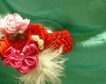 Valentines headband,  valentine's baby outfit, toddler valentines headband,  red pink and white, baby girl valentine's,  babyfirst valentine
