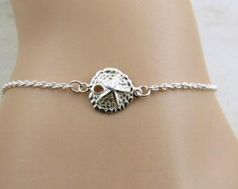 Sterling silver sand dollar bracelet, dainty bracelet, sand dollar bracelet, beach wedding,beach bracelet,beach jewelry, minimalist bracelet