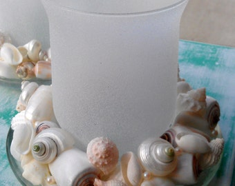 Seashell Candle Holder Set with Pearls - Set of TWO
