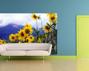 Large sunflower wall art mountain bright huge wall fabric photograph mural living room wall print nature home decor landscape rustic print