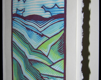 Hand pulled, woodblock printed greeting card, 'Valley'.