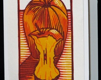 Hand pulled, woodblock printed greeting card, 'Apple and Core'.