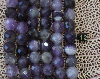 12mm Amethyst  Round Faceted Large Hole Beads