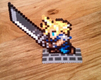 Cloud from final Fantasy 7 Stand-up Perler