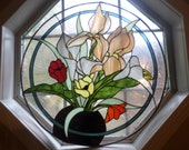 Large Round Stained Glass Flowers