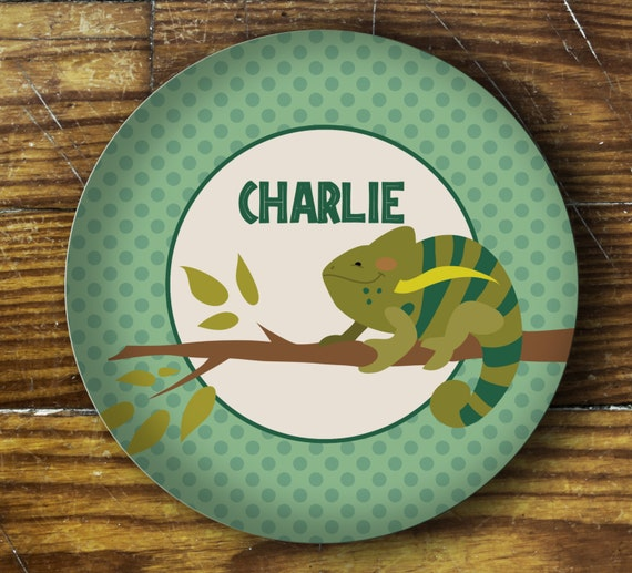 Personalized Dinner Plate or Bowl - Chameleon