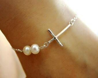 Pearl Cross Bracelet/Minimal Wedding Gift for Mother/Sideways Cross Pearl Bracelet/Simple Bridesmaid Gift for Best Friend Sister Grandma Mom