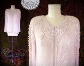 Pearly, Pink, Silky, & Girly / Vintage 1980s Crystal Evening Wear beaded blazer / Pearls, beads, 100% silk fancy top cover up / 80s fashion