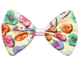Conversation Hearts Hair Bow Clip Anti-Valentine's day Fabric Hairbow
