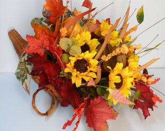 Cornucopia Basket, Horn of Plenty, Thanksgiving decor, Fall Arrangement, Thanksgiving gift basket, Fall Centerpiece, Large Cornucopia Basket