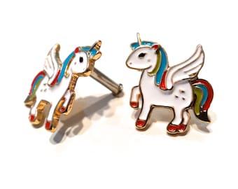 10g Unicorn Plug Earrings
