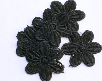 Black flower applique set of 6