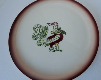 Brock of California Hand-Painted Chanticleer Rooster Ceramic Pottery Dinner Plate - Mid Century