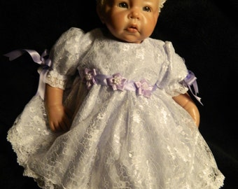 Reborn/Newborn Baby dress+hairband in  white  lace and lavender  polycotton/reborn dolls clothes baby homecoming Valentines day