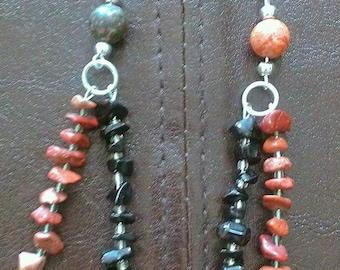 harlequin: hand wrapped stone bead earrings featuring jasper chips & leopard jasper beads