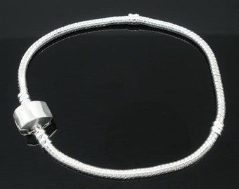 "Silver Plated Magnetic Clasp Pand*ra Style Snake Chain Bracelet 8"" - BONUS Stopper Bead"