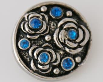 KB7548  Silver and Dk Blue Crystal Design on Black Enamel