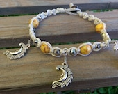 Natural Hemp Anklet, Moon Jewelry, Genuine Gemstones, Gift for Her, Beach Jewelry, Yellow, Kunzite, Free shipping in USA